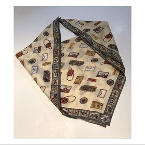 Vintage Neck Scarf with Postcards Stamps Letters